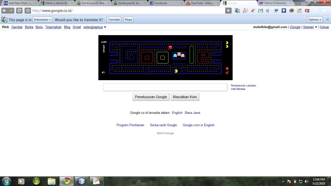 Halaman Google dengan Game Pac-Man
