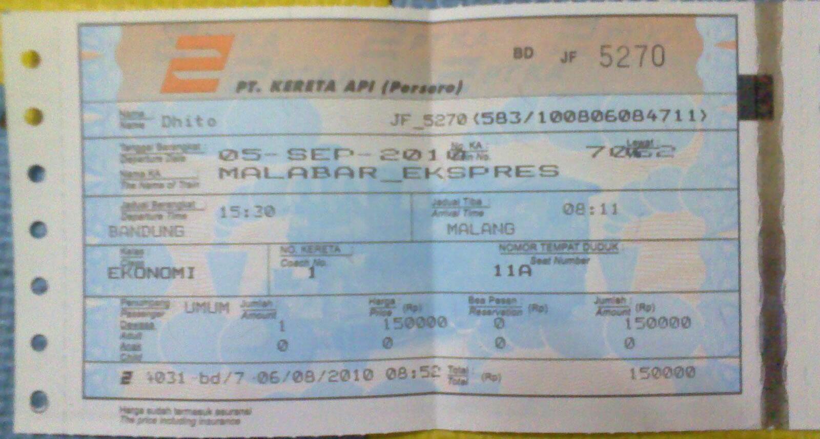 Tiket Kereta Api Musafir Kehidupan