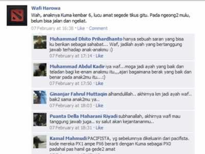Status facebook Wafi tentang Kuma