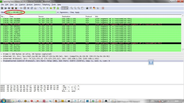 Filter Wireshark dengan IP destination ke 192.168.1.101