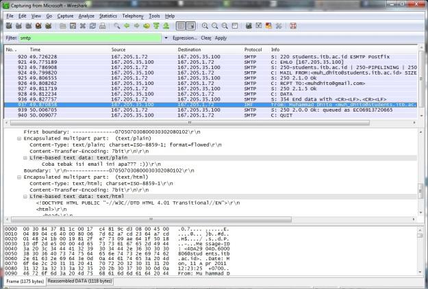 Menyadap email lewat Wireshark