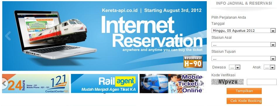 Halaman beranda website PT KAI