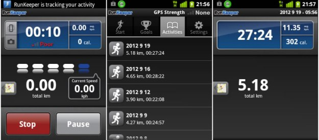 Screenshot aplikasi Runkeeper di Android