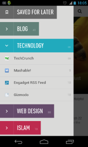 Tampilan versi Android Feedly