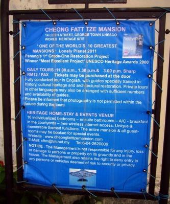 Plang Info tentang Cheong Fatt Tze Mansion