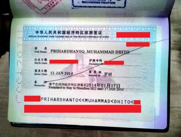 Visa masuk Shenzhen