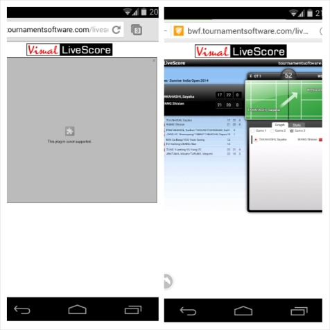 Visual Live Score bwf.tournamentsoftware.com menggunakan flash player