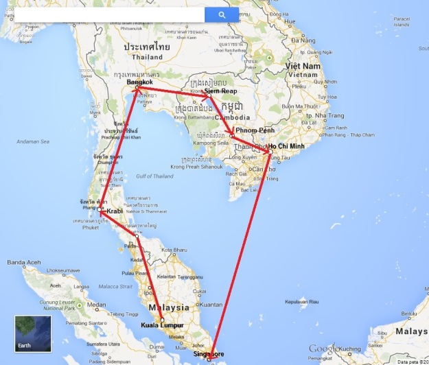 Rute backpacking Indochina 9D8N