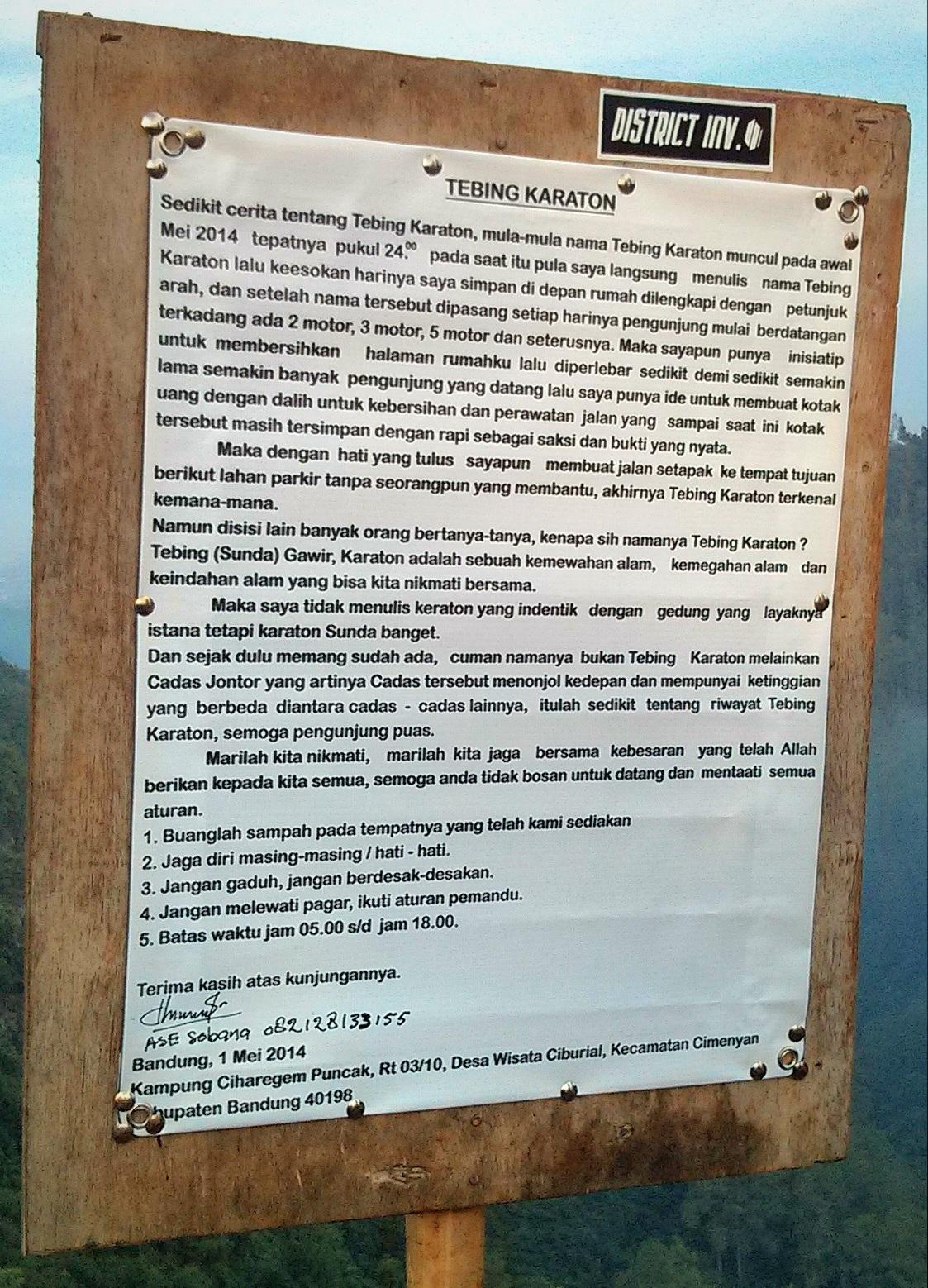 Cerita asal mula nama Tebing Karaton