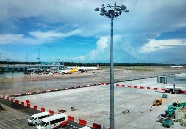 Apron Changi Airport tampak dari Sunflower Garden