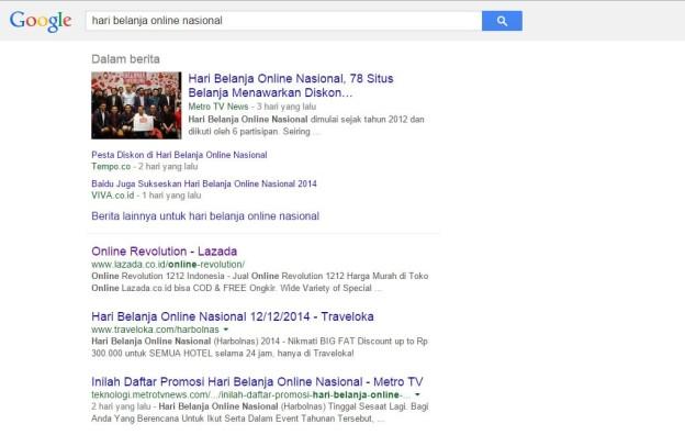Hari Belanja Online Nasional dalam Google