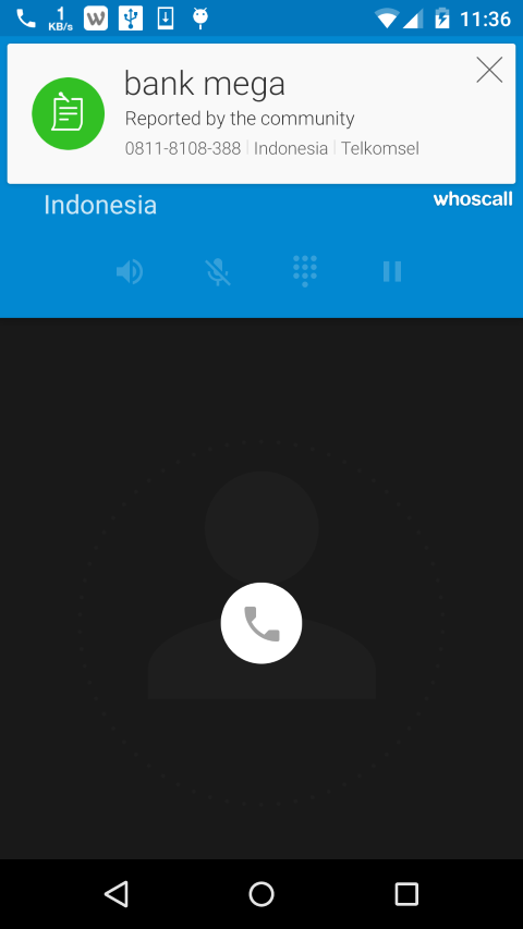 Whoscall mengidentifikasi nomor tak dikenal yang masuk