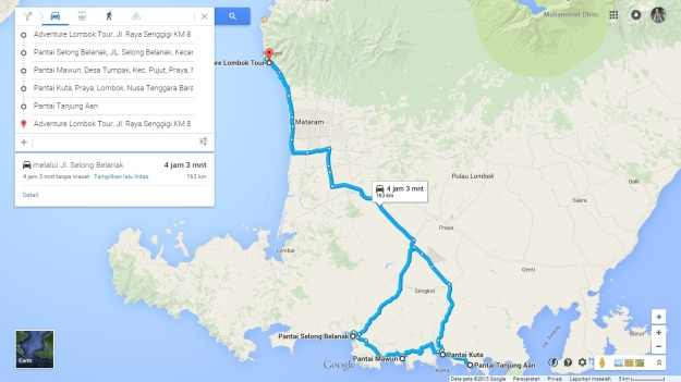 Rute jelajah pantai-pantai selatan Lombok
