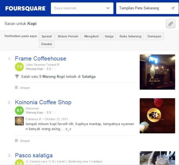 Review tempat ngopi di Foursquare