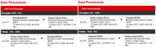 Penerbangan Bandung-Kuala Lumpur-Yangon PP dengan AirAsia