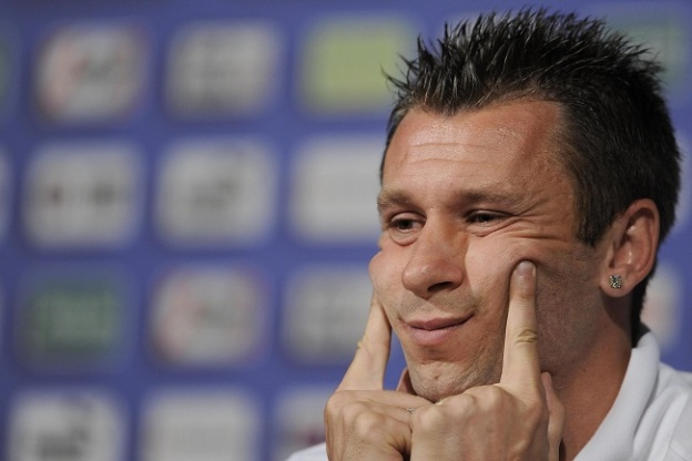 Italy's forward Antonio Cassano during a press conference at Casa Azzurri in Krakow, Poland, 12 June 2012. The Italy national team is preparing for the Uefa Euro 2012 soccer championship.       ANSA/MAURIZIO BRAMBATTI