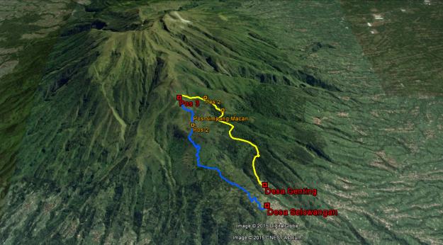 Rute naik dari Desa Selowangan (warna biru) dan rute turun ke Desa Genting (warna kuning)