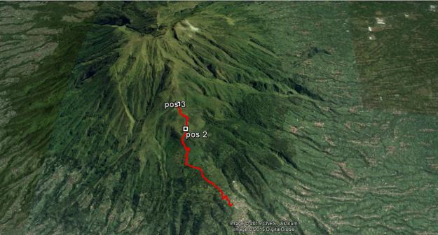 Rute yang kami lalui dari basecamp hingga ke Pos 3 (hasil log GPS)