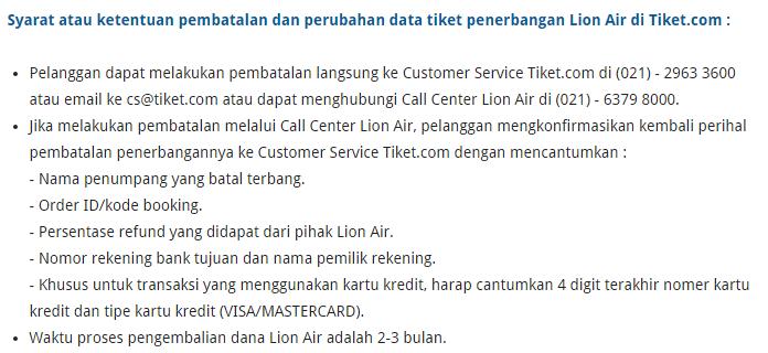 Ketentuan pembatalan tiket Lion Air di Tiket.com