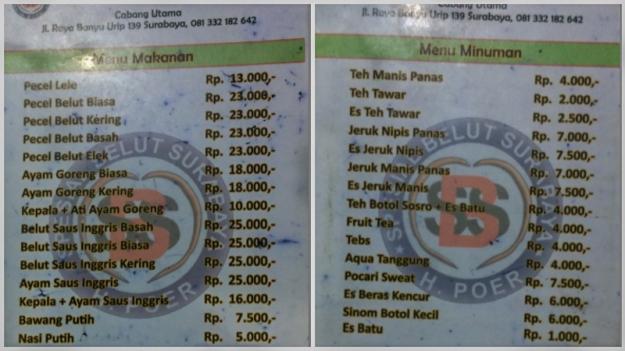 Menu Spesial Belut Surabaya