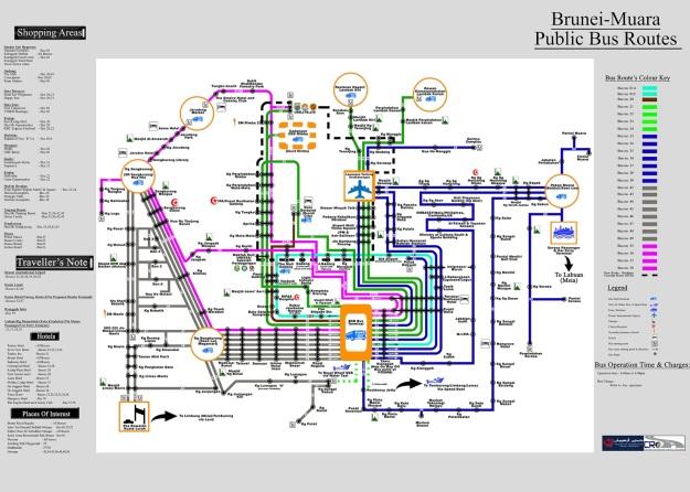 Peta rute bus-bus umum di Bandar Seri Begawan dan sekitarny