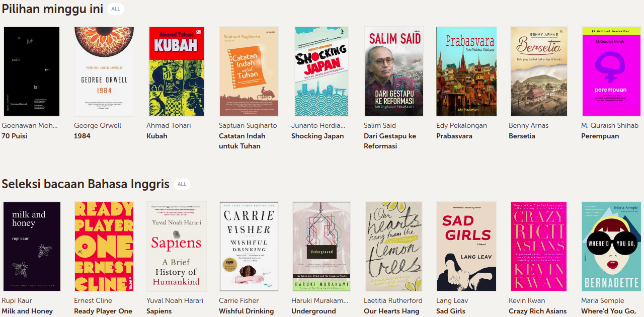 Etalase pilihan buku di Bookmate