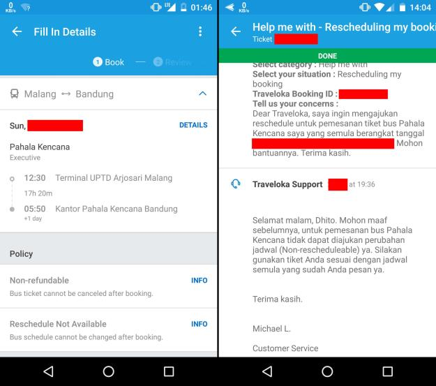 Tiket bus di Traveloka bersifat non-refundable & non-reschedulable