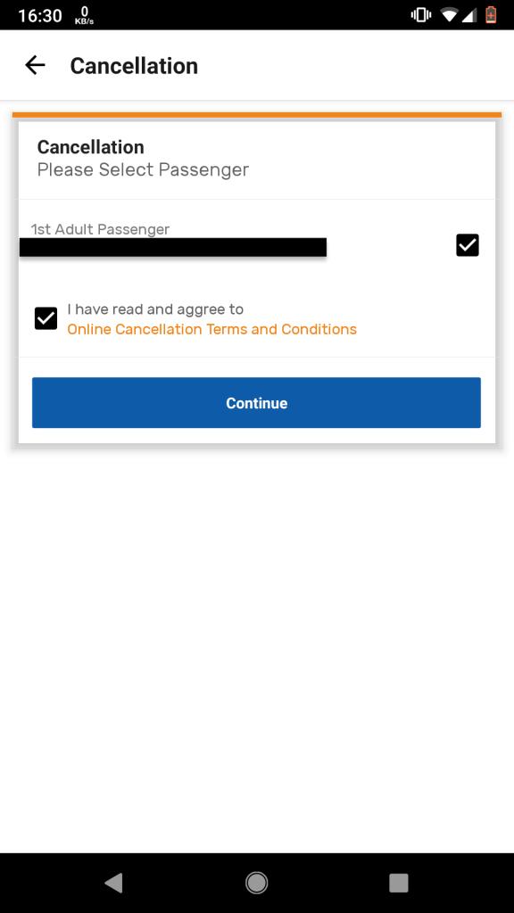 """3. Pilih penumpang yang ingin dibatalkan tiketnya. Centang pernyataan persetujuan Terms & Agreements. Tekan """"Continue""""."""