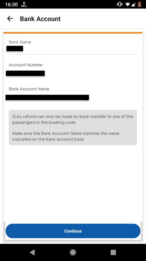 "4. Masukkan nama bank, no rekening, dan nama pemilik rekening. Tekan ""Continue""."